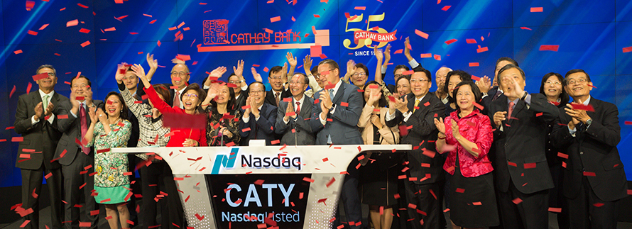Cathay Bank celebrated its 55th Anniversary in the New York NASDAQ market site.