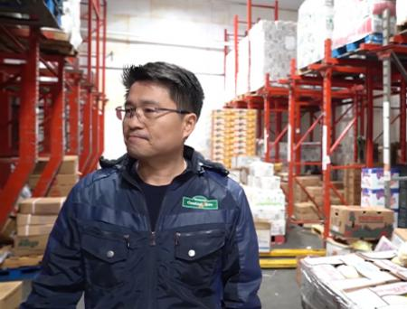 Central Ave CEO William Shim standing at the company's warehouse.